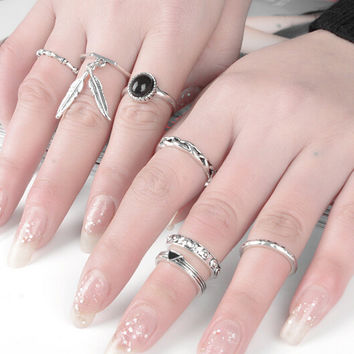Vintage Retro Tassel Feather Old Silver Ring 7 Pcs Gift-174