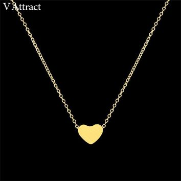 Women Stainless Steel Dainty Heart Shaped Necklace