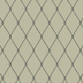 Knot Trellis Wallpaper in Beige, Grey, and Black design by York Wallcoverings