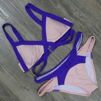 Sexy Cross Patchwork Bikini Set Push Up Swimsuit