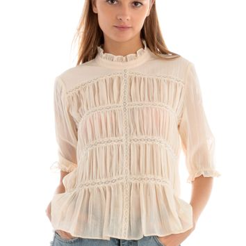Ruched Top with Ruffled Collar and Sleeves