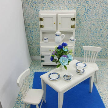 Wood Hoosier Hutch  Table and Chairs White 1 inch scale Glass Dishes Flowers