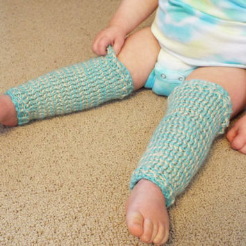 Baby Legwarmers- Gender Neutral Baby- Newborn Leg Warmers- Hippie Baby- New Baby Gift- Teal and Tan Striped Infant Legwarmers- Hipster Baby