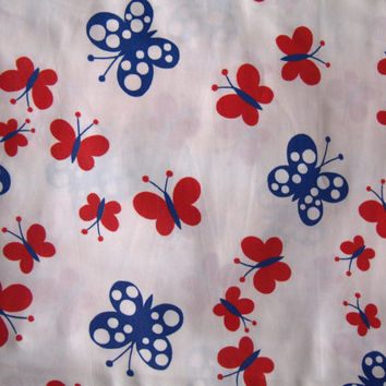 Lot of Vintage 1970s Large Fabric Yardage Polka Dot Butterflies Red White Blue Nautical Peter Pan Fabrics Quality Sateen Dress Making Fabric