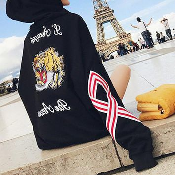 """""""Gucci"""" Women Fashion Letter Tiger Head Embroidery Multicolor Long Sleeve Loose Hooded Sweater Pullover Tops"""