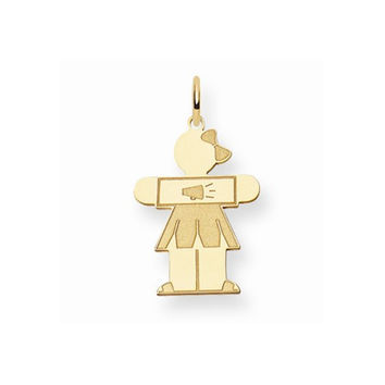 14k Yellow Gold Cheerleader Girl Hugs Charm