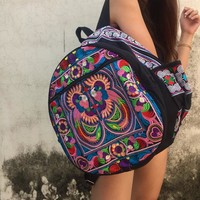 Boho Backpack Trippy Embroidered Hippie Retro Hmong Flower fabric Festival Travel Luggage School bucket bag Gifts for her Women men Unique