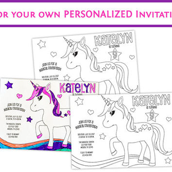Unicorn Invitations - Color Your Own Unicorn Birthday Invitation - Girl Coloring Invitation Kit - Magical Birthday Craft Kit - Unicorns