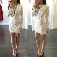 Sexy Women Casual Vneck Long Sleeve Evening Party Cocktail Short Mini Lace Dress