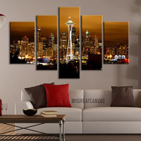 Seatle City Night Skyline Canvas Print - 5 Panel Canvas Wall Art - Seatle City Landscape - Giclee Print - Framed