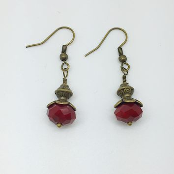 Dark red earrings