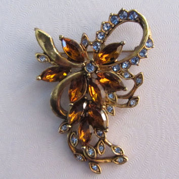 Fancy Costume Rhinestone Brooch - signed KC