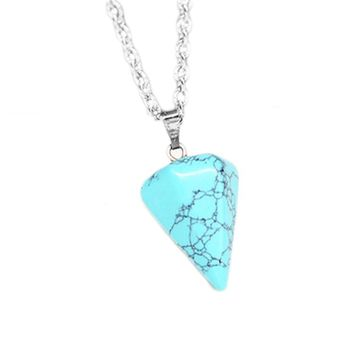 Handmade Healing Crystal Necklace Real Pyramid Necklace Marble Howlite Pendulum Amulet Opal Stone Necklace