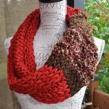 Knit red and browns chunky Cowl. Infinity Cowl. Made by Bead Gs on ETSY. unique cowl.