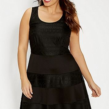 plus size lacy dress with solid striped skirt | maurices