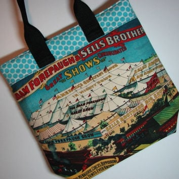 Quilted Zippered Handbag , Novelty Circus Poster Print Tote Bag , Turquoise Polka Dots , Zippered Top and Stable Bottom , Quiltsy Handmade