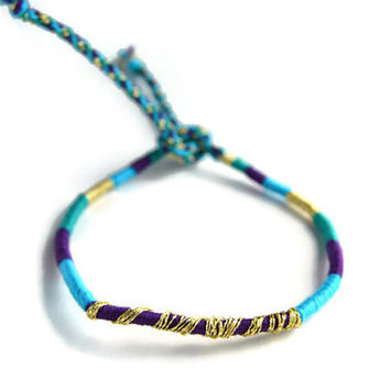 Sparkly Gold and Purple Friendship Bracelet and Anklet, Teal  Purple and Blue Wanderlust Friendship Anklets