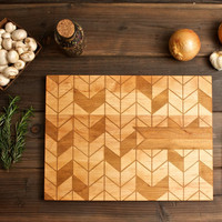 Personalized Engraved Chevron Wood Cutting Board - 12x16 - custom wedding or anniversary gift for foodie couple