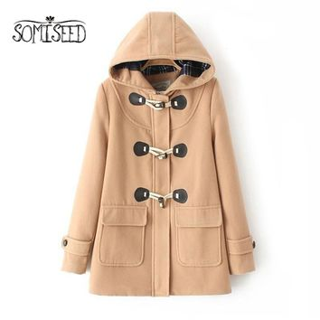 Duffle Wool Coat Long Turn Down Horn Button Hooded Collar Woolen Overcoat Wide Waisted manteau femme Out Wear Women winter coats