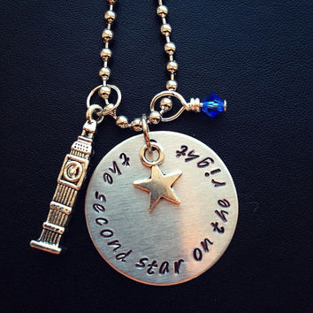 Disney's Peter Pan 'Second Star on the Right' Inspired Handmade Necklace