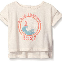 Roxy Girls' Gone Surfin' Short Sleeve Tee, Metro Heather, 12-18 Months