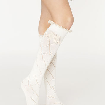 Tall Ivory Bow Boot Sock
