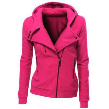 Fashion Zipper solid color hooded  coat-5