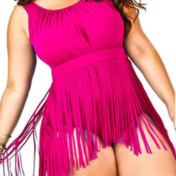 large size XL-6XL Monokini Skirt Swimsuit Plus Size solid color one piece swimwear women Fringed sexy  swiming bathing suit