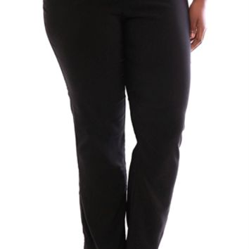 Plus Size Bootcut Dress Pant with 2 Button Waistband and Slant Pockets