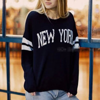 """NEW YORK"" Print Stripe Sweater"