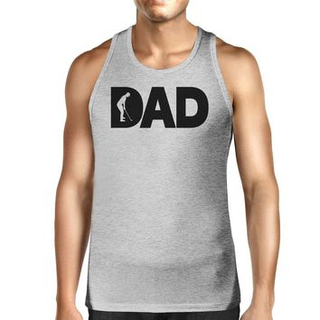 Dad Golf Mens Grey Sleeveless Tee Funny Design Tank For Golf Lovers