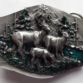 Pewter Deer Family by Creek Belt Buckle with Enamel signed Siskiyou