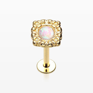 Golden Ornate Opal Lace Top Steel Labret