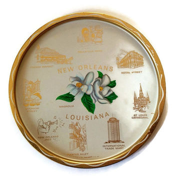 Vintage Louisiana State Tray, Tin Serving Tray, New Orleans Landmarks, State Flower,  Magnolia, White and Gold, Bourbon Street