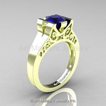 Modern Classic 14K Green Gold 1.0 CT Blue Sapphire Engagement Ring, Wedding Ring R36N-14KGGBS