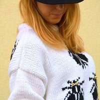 White sweater, hand knitted sweater with Black flies, M size , womens clothing