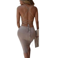 Low Cut Sexy Backless Women Dress Open Back Spaghetti Strap Dress Black Night Club Bodycon Bandage Slim Dress Summer Style 2016