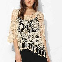 Staring At Stars Floral Crochet Top- Neutral