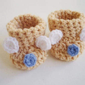 Baby bear booties Crochet baby booties Beige baby shoes Baby boy booties Boy Bear shoes Baby shower gift Baby girl booties New baby boy gift