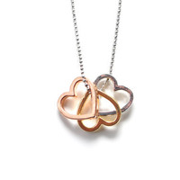 Three Hearts Necklace in Rose Gold, Yellow Gold and Silver on Silver Bead Chain. Love necklace, Mother's Day Special