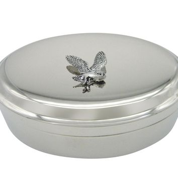 Flying Owl Bird Pendant Oval Trinket Jewelry Box
