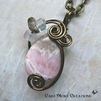 Rhodochrosite Wire Wrapped Pendant - Pink Necklace in Antique Bronze