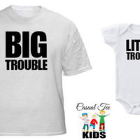 Father Son Matching Shirts Big Trouble Little Trouble Matching Father Baby Tshirt and Baby Boy Bodysuit Father's Day