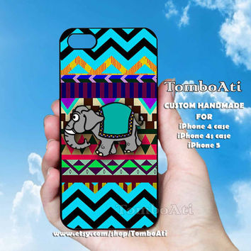 ELEPHANT  Aztec Mint chevron - Print on Hard Cover For iPhone 4/4S and iPhone 5 Case
