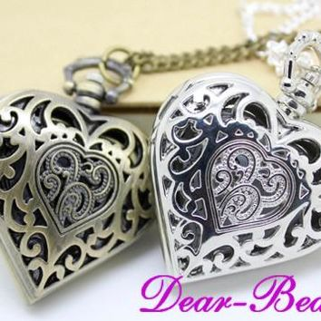 (1073 Vintage Steampunk Style Retro Heart Shaped Pocket Watch Necklace 12pcs/lot