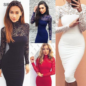 Julissa Mo 2018 Autumn Summer Women Dress Fashion Long Sleeve Vintage Lace Patchwork Sexy Bodycon Bandage Party Club Dresses