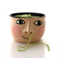 Funny gift for knitter - yarn bowl with face and open nostrils - one of a kind - knit bowl - crochet and knitting supplies - pottery
