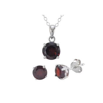 925 Sterling Silver Garnet Gemstone Pendant Necklace and Earrings Set