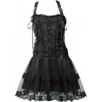 Withered Whisper - black gothic dress by Aderlass