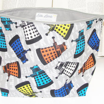 Large Wide Zipper Pouch, Handmade with Dr. Who Daleks Exterminate, Perfect for cosmetics, knitting, cross stitch, toiletries